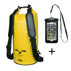 HAWK Outdoors Dry Bag - wasserdichter Packsack mit gepolsterten Schulter-Gurten PLATZ 1